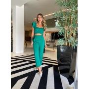 Conjunto cropped + calça portinari Verde -