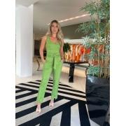 Conjunto cropped e calça classy Verde -