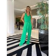 Conjunto cropped e calça pantalona viscose Verde -