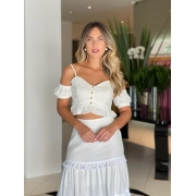 Conjunto cropped e saia candy Off white -