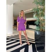 Conjunto cropped e shorts alfaiataria Roxo -