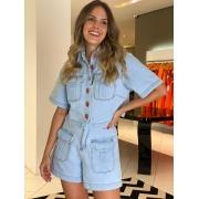 Conjunto Giovanna camisa e shorts jeans Azul -