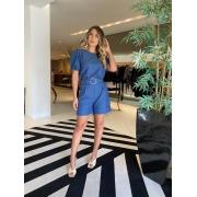 Conjunto mg bufante shorts jeans Azul -