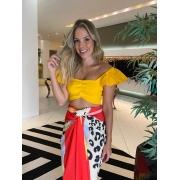 Cropped trico babado Amarelo -