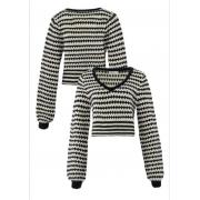 Cropped tricot m/l listrado Preto e branco -