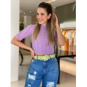 Cropped tricot tranças Monica Lilas -