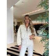 Jaqueta de sarja cropped Off white -