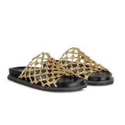Sandália metalcolor ouro slide Preto -