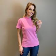 T-shirt basic gola alta Rosa -