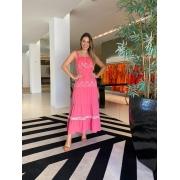 Vestido Agatha babado laise maquinetado Rosa -