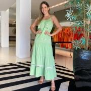 Vestido Agatha babado laise maquinetado Verde -