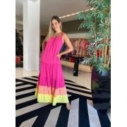 Vestido alça midi Andra Pink -