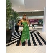 Vestido alça midi viscose estampado Verde -