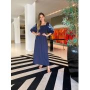 Vestido Alícia lastex mg bordadas Azul marinho -