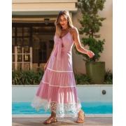 Vestido Ana Luiza listrado Rosa -