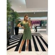 Vestido c/ amarração e barra fio Verde -