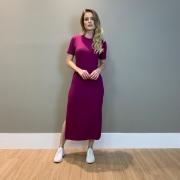 Vestido canelado c/ decot V Fucsia -