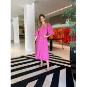 Vestido Clara mg bufante pespontado Rosa Framboesa -