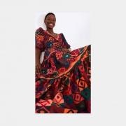Vestido cropped mosaico gráfico colorido