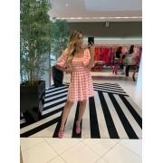 Vestido curto lastex vichy Rosa -