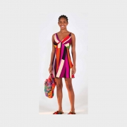 Vestido curto listra linda colorido