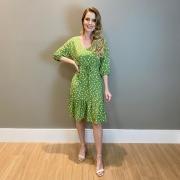 Vestido estampa floral dect. V Verde -