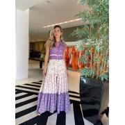 Vestido floral Clarissa Roxo -
