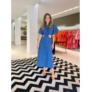 Vestido Giulia c/ abertura jeans Azul escuro -