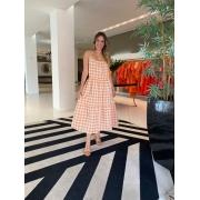 Vestido Juliana midi xadrez alça e babdos Laranja -
