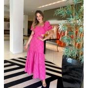 Vestido laise longo babados Pink -