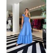 Vestido lastex alça babado Azul -