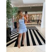 vestido lastex curto azul -