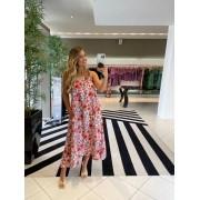 Vestido linho floral alça concha Laranja -