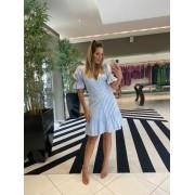 Vestido listra curto Azul -