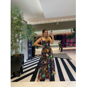 Vestido longo abstrato Preto -