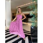 Vestido longo alcinha double chiffon Azaleia -