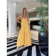 Vestido longo bolso lateral Amarelo -