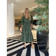 Vestido longo c/ cinto Verde -