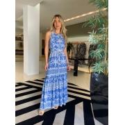 Vestido longo c/ faixa em viscose palms Azul -