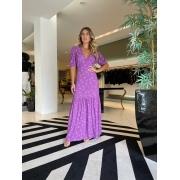 Vestido longo dec V flower Azaleia -