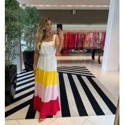 Vestido longo decote quadrado com faixa Amarelo -