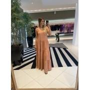 Vestido longo laise com camadas Bege -