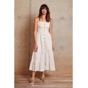 Vestido longuete em sarja c/ vista Off White -
