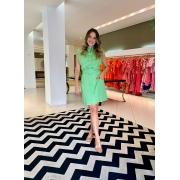 Vestido Mariah curto regata em linho Verde -