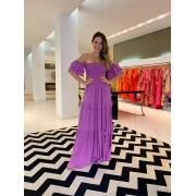 Vestido Marina longo viscose Lilas -