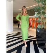 Vestido midi canelado califórnia Verde -