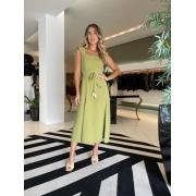 Vestido midi det crepe marrocos Green tea -