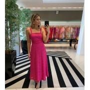 Vestido midi em laise lisbia Pink