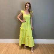 Vestido midi tricoline vichy Verde -