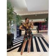 Vestido mini abstrato Preto -